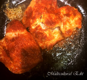 Chicken While Frying 300x275 - Jalapeno Cheddar Cheese Chicken
